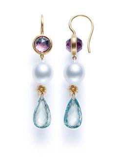 Something Blue for the Bride. Amethyst, Pearl and Aqua Quartz Triple Drop Earring – A. JARON Fine Jewelry