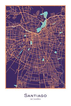 Santiago, Chile Map Print