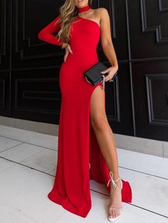 Choker One Shoulder Thigh Slit Party Dress