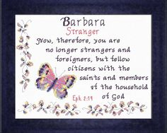 Cross Stitch Barbara with a name meaning and a Bible verse