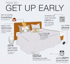 "How to get up earlier! #infographic ""8 Helpful Tips For Getting Your Butt Out Of Bed""."