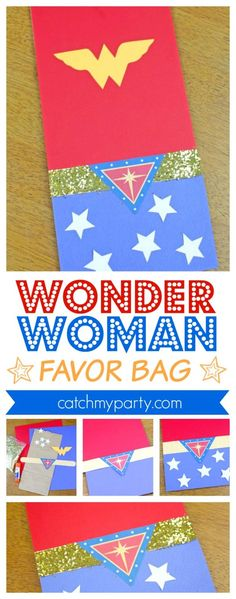Wonder Woman Favor Bags | CatchMyParty.com