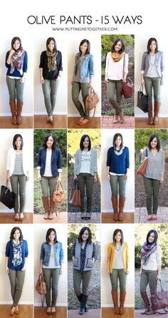 Putting Me Together: How to Wear Olive Skinny Jeans - 15 Ways. Ideas for how to wear my olive pants Pantalon Vert Olive, Look Fashion, Autumn Fashion, Fashion Women, Fall Fashion Trends, Trendy Fashion, Fashion Ideas, Fashion Tips, Fashion Outfits