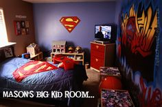 Please Check More! Awesome 12 Great Lessons You Can Learn From Superman Bedroom Bedroom Images, Bedroom Themes, Bedroom Decor, Bedroom Ideas, Bedroom Designs, Superman Room, Superhero Room, Modern Mens Bedroom, Boy Room