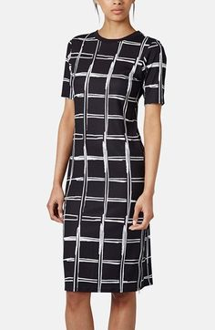 Topshop+Grid+Pattern+Midi+Dress+available+at+#Nordstrom