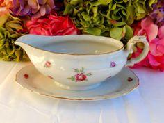 Vintage Bavarian Porcelain Sauce Boat ~ First Love ~ Roses ~ Embossed Gold
