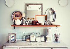 My Fabuless Life: Mixed Metals & White Fall Decor Hipster Apartment, Apartment Living, Home Decor Furniture, Painted Furniture, Kitchen Vignettes, Kitchen Decor, Autumn Inspiration, Room Inspiration, Design Inspiration
