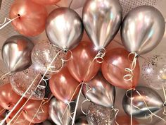 metallic, chrome, rose gold, confetti balloons and ribbon Metallic Chrome Sliver latex Balloons Confetti Balls Wedding Baby Shower Adult Birthday Party 16 Balloons, Rose Gold Balloons, Latex Balloons, Hen Party Balloons, Clear Balloons With Confetti, Metallic Balloons, Gold Birthday Party, Adult Birthday Party, Balloons For Birthday