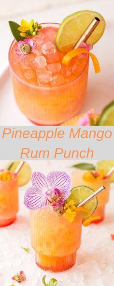 Pineapple Mango Rum Punch – Amazing World Food and Recipes Refreshing Drinks, Summer Drinks, Fun Drinks, Healthy Drinks, Mango Rum Drinks, Fruity Drinks, Party Drinks, Healthy Nutrition, Mixed Drinks