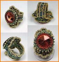 The Fire of a Rivoli with Dichroic Seeds!  Bead Gallery Art  Dichroic Seed Beads, size 11/0, have such a glow about them! I couldn't wait to match them up with a huge Rivoli. If you notice the pattern in the ring, the metallic gold is hard to determine, woven with the Dicros, but in person, these ring looks like it is burning on your finger! I try to include Dicros with many of my creations.