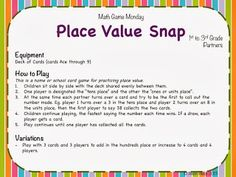 Simple, quick to teach, Place Value Snap!