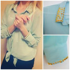 Green shirt with gold studs