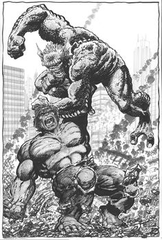 Hulk vs The Abomination By John Byrne. Hulk Marvel, Marvel Comics Superheroes, Marvel Characters, Avengers, Comic Book Artists, Comic Artist, Comic Books Art, Fantasy Comics, Fantasy Fiction