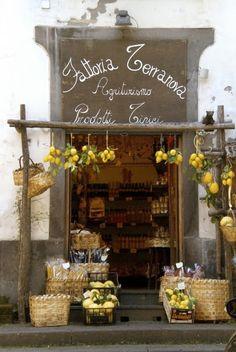 Fattoria Terranova, Positano, Italy Remember Positano from Under the Tuscan Sun? Vitrine Design, Store Front Windows, Terra Nova, Vintage Bakery, Deco Restaurant, Cafe Shop, Lovely Shop, Shop Fronts, Amalfi Coast