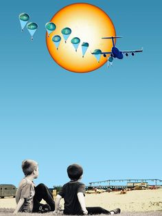 Collage art from Eugenia Loli. Sunday: two little guys basking in the heat of a humungous sun, watching some sky divers leap from a plane. Buy this limited edition art online starting from 100€. Art to disrupt, not bankrupt!