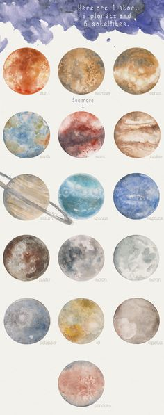 Watercolor clipart by Elisartemis on Creative Market - Kunst - - Watercolor - Solar system. Watercolor clipart by Elisartemis on Creative Market - Kunst - Solar system. Watercolor clipart by Elisartemis on Creative Market - Kunst - - Watercolor Clipart, Watercolor Paintings, Watercolor Moon, Space Watercolor, Watercolor Stickers, Galaxy Painting, Galaxy Art, Planet Painting, Planet Drawing