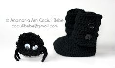 spider yarn and crochet booties by Anamaria Ami caciulibebe@gmail.com https://www.facebook.com/pages/Caciuli-BEBE-BABY-hats/239712002749899