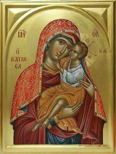 """Theotokos - Modern, Byzantine Orthodox rendition of the miraculous icon of Panagia Giatrissa """"The Healer. Religious Images, Religious Icons, Religious Art, Byzantine Icons, Byzantine Art, Church Icon, La Madone, Russian Icons, Holy Mary"""