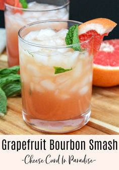Grapefruit Bourbon Smash Cocktail is a little tart, a little sweet, and a little herby. Nice and strong, and it's perfect to sip on to celebrate the weekend finally being here. Bourbon Cocktails, Summer Cocktails, Cocktail Drinks, Cocktail Recipes, Drink Recipes, Cocktail Ideas, Alcoholic Drinks, Strong Cocktails, Healthy Cocktails