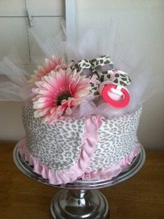 Pink Leopard Mini Diaper Cake - Baby Girl Shower Gift, Single Tier. $32.00, via Etsy.