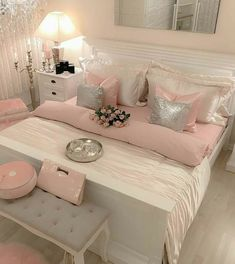 Awesome 36 Unusual Girly Bedroom Decoration Ideas For Your Inspiration. # Bedroom ideas 36 Unusual Girly Bedroom Decoration Ideas For Your Inspiration Pink Bedroom Decor, Pink Bedrooms, Living Room Decor, Bedroom Black, Pink Master Bedroom, Bedroom Neutral, Bedroom Small, Living Rooms, Girl Bedroom Designs