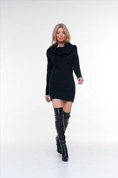 Elan USA Black Turtleneck Sweater Dress