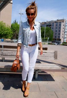 Light blue denim jacket, white t-shirt & skinny jeans, camel sandals, skinny belt & handbag