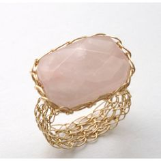 Rose Quartz Ring 14K Gold Fill Wire Crochet Made to Order (1,180 MXN) ❤ liked on Polyvore featuring jewelry, rings, gold filled rings, 14k gold filled jewelry, 14 karat gold ring, rose quartz jewelry and macrame jewelry
