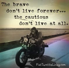 """The brave don't live forever... but the cautious don't live at all."" 