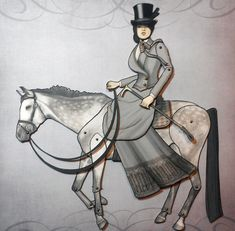 Victorian Horse Riding Paper Doll  Jointed by FiveAndNineteen, $9.50