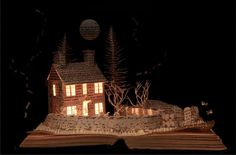 Sue Blackwell's Wuthering Heights. http://www.sublackwell.co.uk/portfolio-book-cut-sculpture/