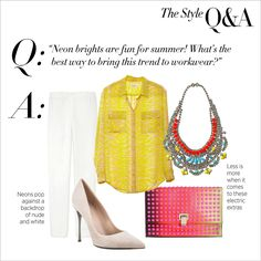 This chic neon outfit is office-appropriate! The #ShopBAZAAR Editor's Blog: The Style Q Workwear Brights