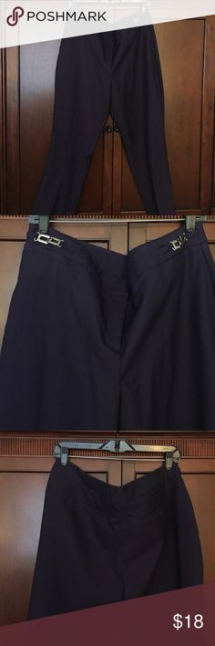 """Purple ankle pants w/silver waist detailing New York and company purple ankle pants 24"""" inseam. Worn once.  Beautiful eggplant 🍆 purple in color. New York & Company Pants Ankle & Cropped"""