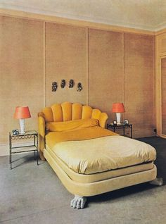 put a loveseat/sofa up against end of your bed (Jean-Charles Moreaux, 1939 Monster under the bed is part of the structural integrity) Home Living, Living Spaces, Room Inspiration, Interior Inspiration, Vintage Interiors, Home Remodeling, Bedroom Decor, 70s Bedroom, Bedroom Bed