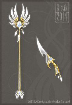 Celestial staff and dagger by Rittik-Designs