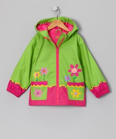 Green Flower Raincoat - Toddler & Girls | Daily deals for moms, babies and kids