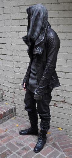 Hoodie, leather jacket
