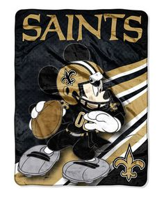 This New Orleans Saints Mickey Mouse Throw Blanket by The Northwest Company is perfect! #zulilyfinds