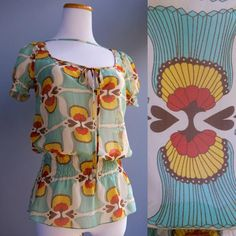 Killah Art Nouveau Deco Print Sheer Chiffon Peasant Top Blouse Great Colors S XS in Clothing, Shoes & Accessories, Women's Clothing, Tops & Blouses | eBay