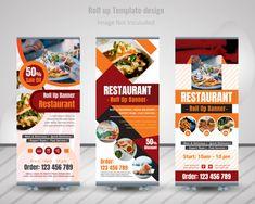 Food roll up banner design for restaurant Premium Vector Food Graphic Design, Food Poster Design, Food Design, Flyer Design, Design Ideas, Rollup Banner Design, Standing Banner Design, Standee Design, Roll Up Design