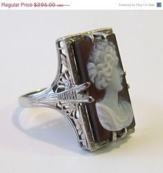 SALE Antique Filigree Cameo Ring Carved by PeacockVintageBijoux, $265.50