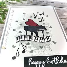 Up Music, Music Notes, Happy Birthday, Birthday Cards, Medley Music, Musical Cards, Rainbow Painting, Heart Cards, Stampin Up Cards