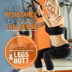 Resistance Bands Challenge: Week 2 – Legs & Butt - Fitness Little Resistance Band Training, Resistance Band Exercises, Strength Training, Fitness Herausforderungen, Fitness Motivation, Physical Fitness, Health Fitness, Leg Butt Workout, Workout Exercises