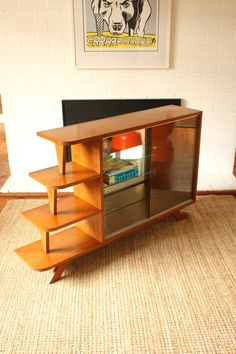Mid Century Mirrored Display Cabinet Shelf by TriBecasVintage, $380.00