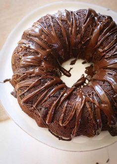 Rich, tender banana bread bundt cake with chocolate chips and chocolate glaze. This super simple recipe is a fun twist on two classics.