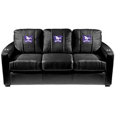 XZipit College Silver Sofa with Western University Canada Mustangs Logo Panel, Black