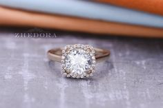 Round Moissanite Engagement Ring in 14K or 18K Yellow Gold , Flower Moissanite Ring, Lab Created White Sapphire Engagement Ring , Zhedora This magnificent flower engagement ring is made with the highest quality ,lab created white sapphire or moissanite center stone set on a 100% guaranteed