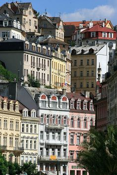 The Bohemian town of Karlovy Vary, Czech Republic.