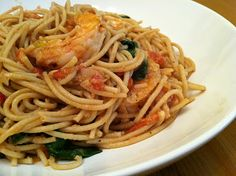 Yummy. Pasta, Shrimp, Roasted Tomatoes and Spinach: add salt and pepper to flour, used chicken stock, used fresh bruschetta from WF, no leek, added feta, would not toss crispy shrimp rather place on top of pasta
