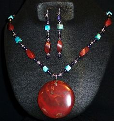 Large Round Breciated Jasper Pendant with Sterling Silver Bail, Twisted Breciated jasper, Hematite, Turquoise dyed Jasper Cubes and silver spacer beads